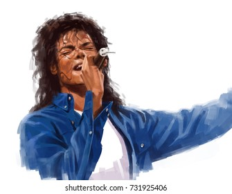 October 11, 2017: Michael Jackson, Man in the Mirror live performance, Digital painting illustration