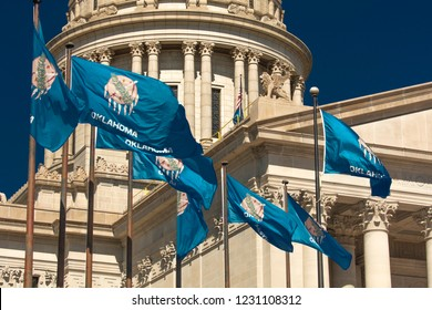 OCTOBER 11, 2018 Oklahma City USA -State Flag flies over Oklahoma State Capitol, Oklahoma City OK