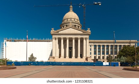 OCTOBER 11, 2018  Oklahma City USA  Oklahoma State Capitol, is being rennovated and is shrowded for construction