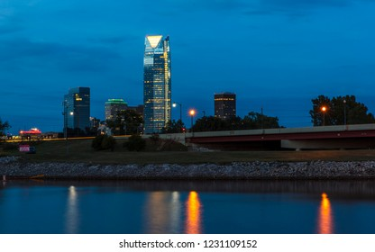 OCTOBER 11, 2018 - Oklahoma City, USA at dusk - Oklahoma City Skyline, Oklahoma City, Oklahoma