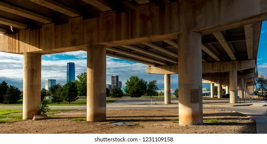 OCTOBER 11, 2018 - Oklahoma City, USA - under freeway we see Oklahoma City Skyline, Oklahoma City, Oklahoma