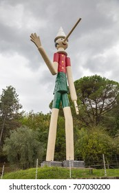 October 11,2016; Collodi, Italy; highest wooden Pinocchio in the World in Collodi,Tuscany