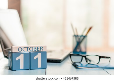 October 11th. Day 11 of month, calendar on Software Engineer workplace background. Autumn concept. Empty space for text
