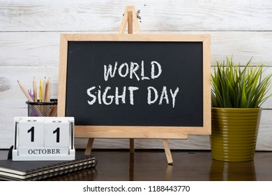 October 11th - World Sight Day.  Calendar event concept.