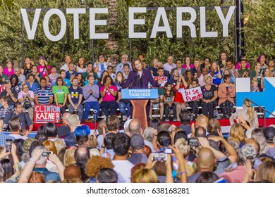 OCTOBER 12, 2016, US Senate Candidate Catherine Cortez Masto introduces Democratic Candidate Hillary Clinton campaign at the Smith Center for the Arts, Las Vegas, Nevada