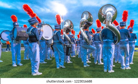 OCTOBER 12, 2018, PARIS TEXAS, USA  - Celina marching band at high school football game - Paris Wildcats win over Celina Bobcats 54-7 in High School Football Game