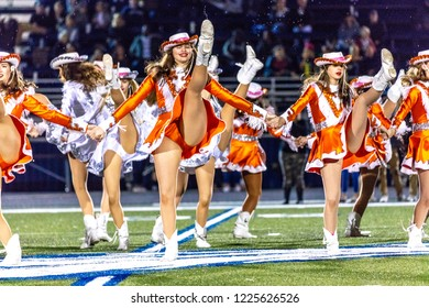 OCTOBER 12, 2018, PARIS TEXAS, USA  - Celina Cheerleaders at high school football game - Paris Wildcats win over Celina Bobcats 54-7 in High School Football Game