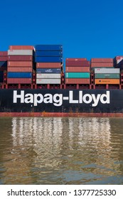 October 1,2016: Savannah, United States: Hapag-Lloyd Container Ship exits to see from the port in Savannah, Georgia.