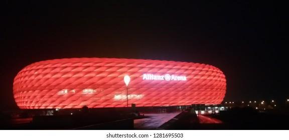 October 13, 2015,Munich,Germany: The allianz arena Staduim at night, the Staduim of the Bayen Munchen football club.