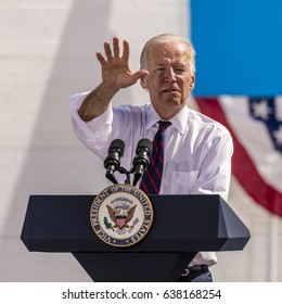 OCTOBER 13, 2016: Vice President Joe Biden campaigns for Nevada Democratic U.S. Senate candidate Catherine Cortez Masto and presidential candidate Hillary Clinton at the Culinary Union, Las Vegas, NV