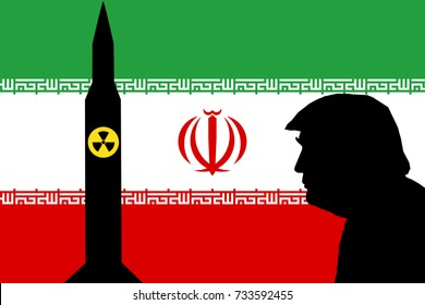 OCTOBER 13, 2017: An Illustration showing the flag of Iran with the silhouettes of a nuclear missile and the United States President Donald Trump.
