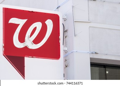 OCTOBER 13 2017 - LAS VEGAS, NEVADA: Close up of the Walgreens Pharmacy sign, on Fremont Street in Las Vegas Nevada