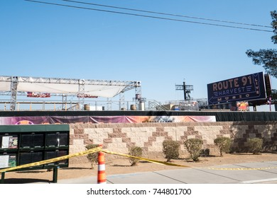 OCTOBER 13 2017 - LAS VEGAS, NEVADA: Site of the Route 91 Harvest Festival remains a crime scene, with stages and signs still in tact from the music concert where the Oct 1 shooting happened.