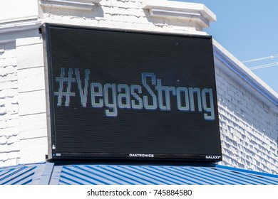 "OCTOBER 13 2017 - LAS VEGAS, NEVADA: Digital billboard displays the word ""VegasStrong"" (hashtag Vegas Strong) as a memorial to the victims killed in the Las Vegas mass shooting on Oct 1 2017"