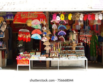 October 13, 2017: souvenir shop setting their street shop display near world cultural heritage place in HUE city of VIETNAM for foreigner site seeing tourist to buy traditional craft souvenir products