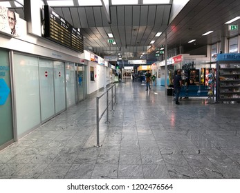 October 13, 2018 - Linz-Hörsching, Austria - The Blue Danube Airport Linz is a small regional airport in Austria.