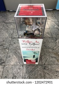 October 13, 2018 - Linz-Hörsching, Austria - Donation box for every currency at the airport in Linz.