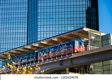 October 13, 2018. Detroit People Mover. Automated people mover system. Detroit, Michigan. USA.