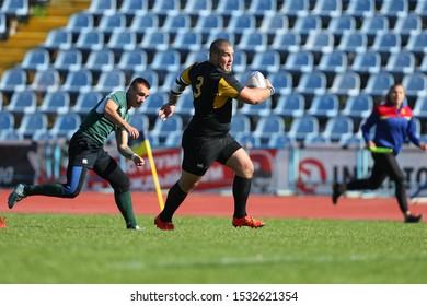 OCTOBER 13, 2019 - KHARKIV, UKRAINE: Rugby-15 Ukrainian Superleague. RC Olimp Kharkiv - RC Sokil Lviv. Harsh battles with beautiful moves. Spectacular game moments