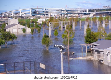 October 13, 2019, Yokohama, Japan, flooding in Japan from typhoon Hagibis. Global warming has created many new environmental disasters such as rivers overflowing and flooding.