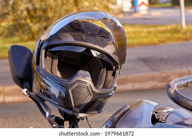 October 13, 2020, Riga, Latvia, damaged  motorbike on the city road at the scene of an accident