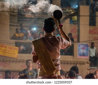 October 13,2017. Ganga aarti ceremony performed by young priests at Dashashwamedh Ganges river Ghat Varanasi,Utter Pradesh, India. Selective focus is used.