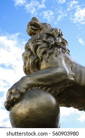 October 13th, 2012, Cobh, Ireland - Lion statue close-up, outside of the Titanic Experience Cobh, county Cork.