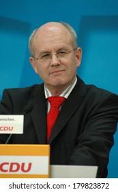 OCTOBER 14, 2005 - BERLIN: Volker Kauder at a press conference in the Konrad Adenauer Haus a in Berlin.