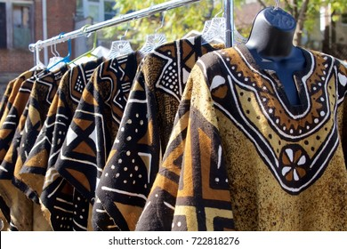 October 14, 2012 - Philadelphia, PA, USA:  Textiles on display at an outdoor African-American Art Expo in Philadelphia, Pennsylvania.