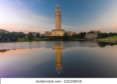 OCTOBER 14, 2018, Baton Rouge, Louisiana, USA - Louisiana State Capitol, Baton Rouge, Louisiana at dusk