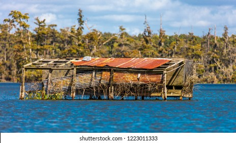 OCTOBER 14, 2018 - Duck blind in Lafayette, Louisiana, USA - Cajun Swamp & Lake Martin, near Breaux Bridge and Lafayette Louisiana