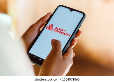 October 14, 2020, Brazil. In this photo illustration the Avery Dennison Corporation logo seen displayed on a smartphone
