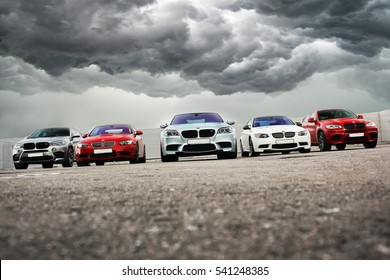 October 15, 2016; Kiev, Ukraine; BMW M5 Matt & 2x BMW X6 M & BMW M3 (E92).   Editorial photo.