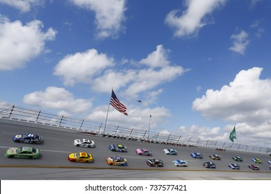 October 15, 2017 - Talladega, Alabama, USA: The Monster Energy NASCAR Cup Series races through turn four during the Alabama 500 at Talladega Superspeedway in Talladega, Alabama.