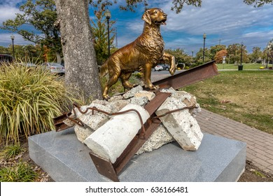 "October 16, 2016 - 9/11 Memorial Eagle Rock Reservation in West Orange, New Jersey - portrays ""Search and Rescue Dogs"" contribution to 9/11 rescue"