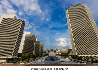 OCTOBER 16, 2016, Albany, New York State Capitol, skyline and government buildings in October