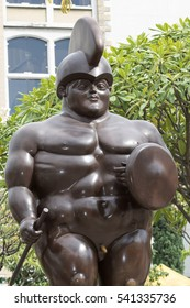 October 16, 2016 Medellin, Colombia: closeup details of  Botero's surrealist statue displayed in the plaza named after the author in the city center.