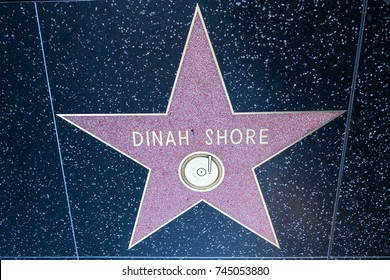 OCTOBER 17 2017 - HOLLYWOOD CALIFORNIA: Dinah Shore's Hollywood Walk of Fame star on Hollywood Blvd in Los Angeles