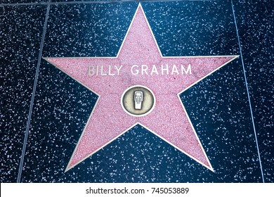 OCTOBER 17 2017 - HOLLYWOOD CALIFORNIA: Billy Graham's Hollywood Walk of Fame star on Hollywood Blvd in Los Angeles