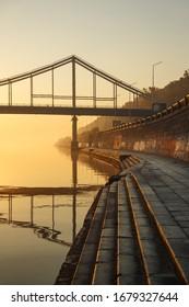 October 17, 2018. Pedestrian bridge in Kiev on postal square.