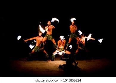 October 18, 2017 -  Fukushima, Japan :  Male Fire Dancing Show at The Spa Resort Hawaiians.