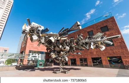 October 18 2017 : Los Angeles:View of Nancy Rubin's Chas' Stainless Steel sculpture, outside the Museum of Contemporary Art (MOCA). Made from used airplane parts with an expanse of 54 feet.