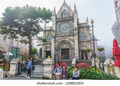 October 18 , 2018 - Danang , Vietnam :The heritage Church in French village on Bana Hills in Danang, Vietnam
