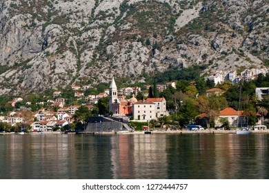 October 18,2017:landscaps view of old town of Kortor from boat at Montenego.