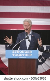 October 18th 2016 - Bue Bell ,USA - President Bill Clinton holds campaign rally for Hillary Clinton in Blue Bell Montgomery County College.