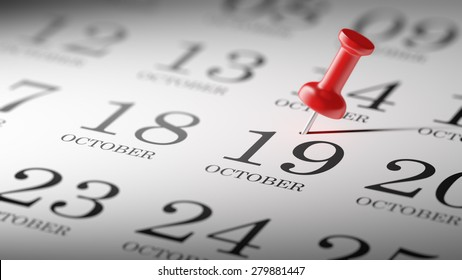 October 19 written on a calendar to remind you an important appointment.