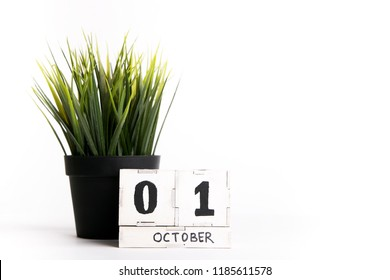 October 1st. Day 1 of month, wooden calendar on white background. Autumn time. Empty space for text
