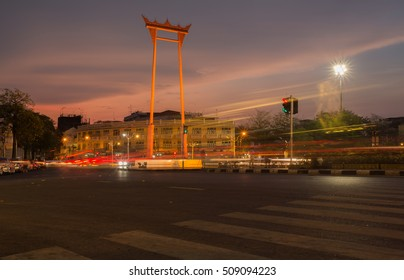 October 2, 2016 Giant Swing at dusk. This is a landmark for tourists. He came to Bangkok Which is the capital of Thailand