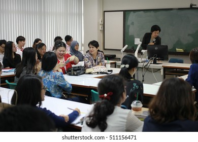 October 2, 2016 : Students sitting in meeting room for profession seminar with professor at Faculty of Education, Chulalongkorn University, Bangkok, Thailand.