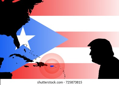 OCTOBER 2, 2017: An illustration showing the silhouette of US President Donald Trump against the flag of Puerto Rico and map of the United States and the Caribbean.